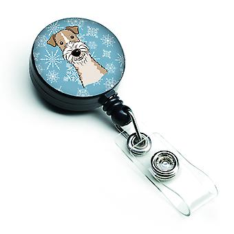 Snowflake Wire Haired Fox Terrier Retractable Badge Reel