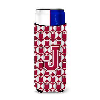 Letter J Football Crimson, grey and white Ultra Beverage Insulators for slim can