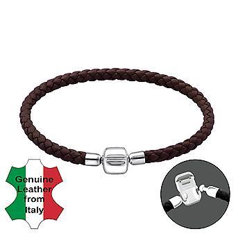 Plaine - en argent Sterling 925 + Bracelets de perles pour le cordon en cuir - W22503X