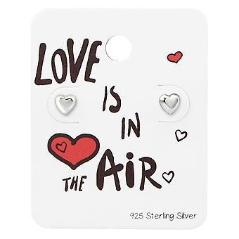 Heart Ear Studs On Love Is In The Air Card - 925 Sterling Silver Sets