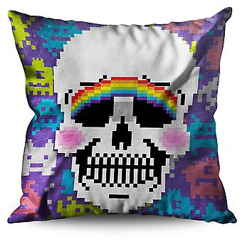 Blush Cute Skeleton Skull Linen Cushion Blush Cute Skeleton Skull | Wellcoda