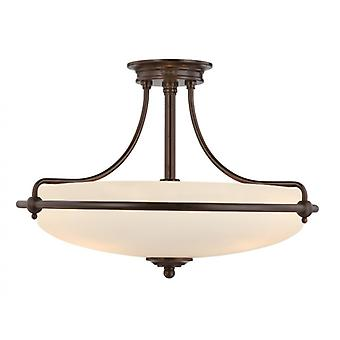 Griffin Palladio Bronze fire lys semi-flush Loftlys - Elstead belysning Qz/griffin/sfmpn