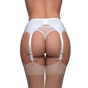 Nylon Dreams NDL6 Women's White Solid Colour Garter Belt 4 Strap Suspender Belt