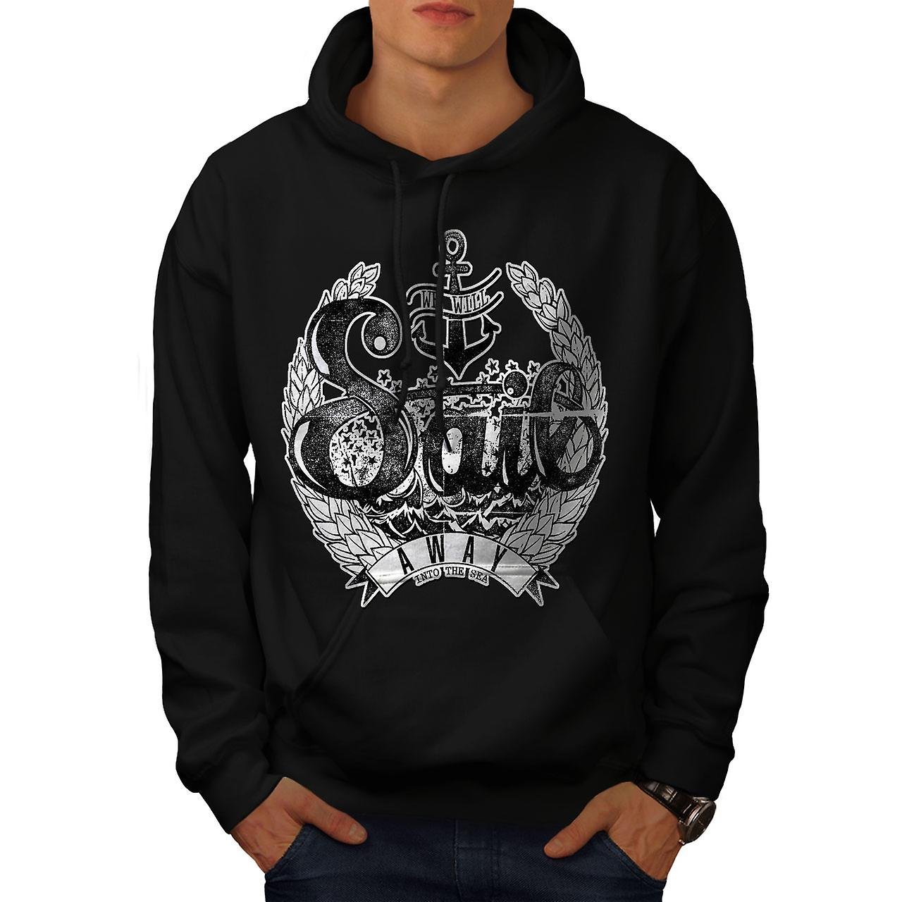 We Will Sail Away Slogan Men Black Hoodie | Wellcoda