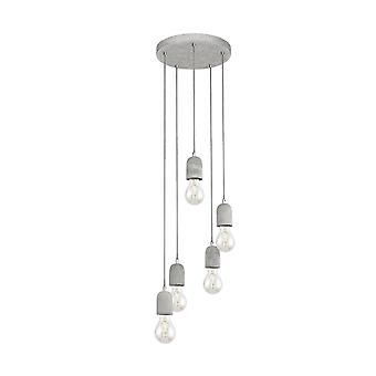 Eglo Concrete Hanging Ceiling Light Pendant Of 5 Lights