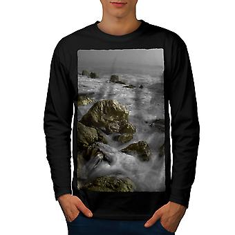 Rock Wild Sea Art Men BlackLong Sleeve T-shirt   Wellcoda