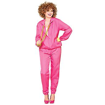 80s Hot Pink Shellsuit Adults Womens Fancy Dress Costume-One Size