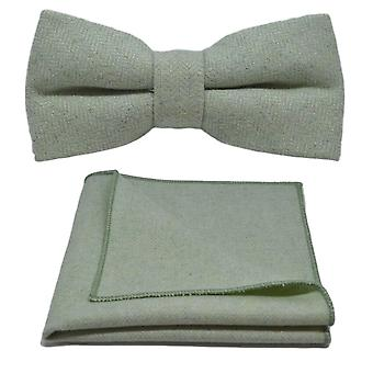 Mint Green Herringbone Bow Tie & Pocket Square Set