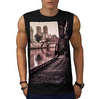 River Vintage Bridge City Men BlackSleeveless T-shirt | Wellcoda