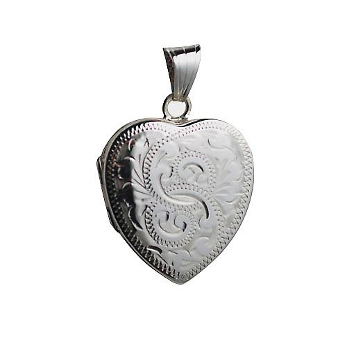 Argento 24mm a mano cuore inciso Locket