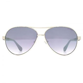 Guess G Chain Temple Pilot Sunglasses In Shiny Light Nickeltin Blue Mirror