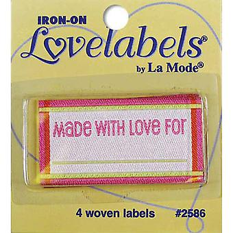 Iron On Lovelabels 4 Pkg Made With Love Pink 2500 2586