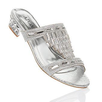 Ajvani womens blocco basso tacco diamante gemma sera slittamento su muli flip flops sandali scarpe
