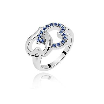 Womens Love Heart Ring Dark Blue Stones