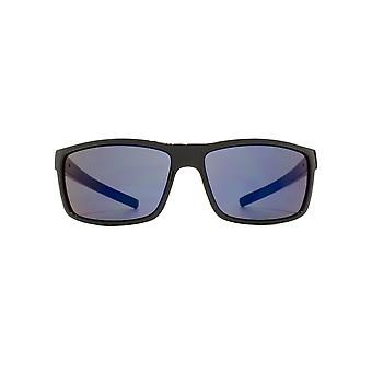 FCUK Rectangle Wrap Sunglasses In Shiny Black Blue