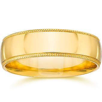 5mm Milgrain Wedding Band 14K Yellow Gold