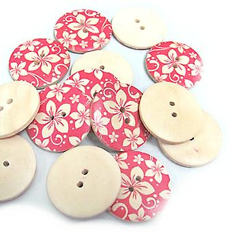 5 x Fuchsia/Cream Wood 30mm Round 4-Holed Patterned Sew On Buttons HA10735