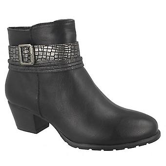Spot On Womens/Ladies Snake Buckle Strap Ankle Boots