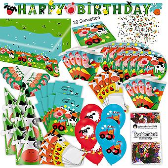 Granja Granja animales niño Seleciona XL 86-piezas para 8 personas granja decoraciones fiesta paquete
