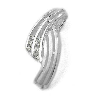 Elegant pendant silver pendant partially frosted 7 cubic zirconia 925 Silver