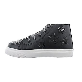 Girls Buckle My Shoe Glitter Black Hi Top Fashion Trainer Shoe Various Sizes