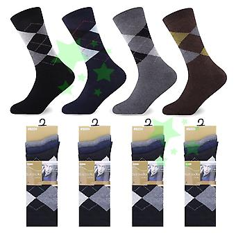 12 Pairs Mens Suit Socks Argyle 6-11 Size Every Day Luxury Socks