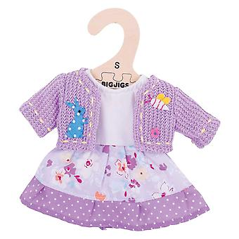 Bigjigs Toys Lilac Rag Doll Dress and Cardigan for 28cm Soft Doll