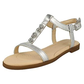 Ladies Clarks Casual Slingback Sandals Bay Blossom - Silver Metallic Leather - UK Size 4D - EU Size 37 - US Size 6.5M