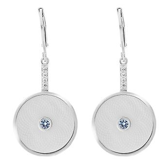 Orphelia Silver 925 Earring  Mop With Central Blue Zirconium  ZO-7291