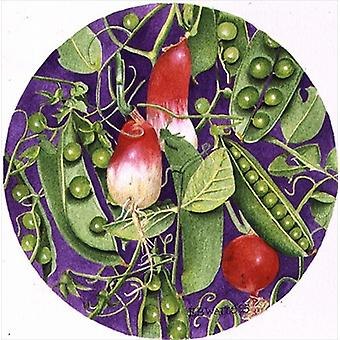 Peas with three Radishes, 1995 (acrylic) by.. - Art Print