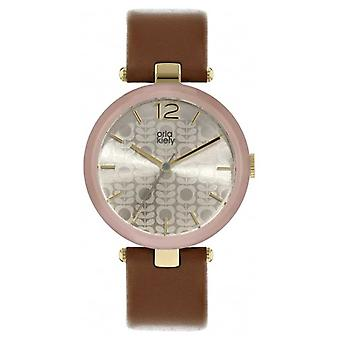 Orla Kiely Maxime Tan Leather bracelet motifs Dial OK2214 Watch