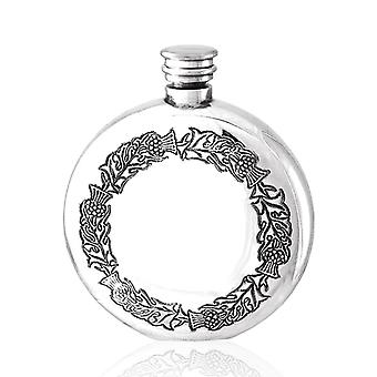 Scottish Thistle Round Pewter Flask - 6oz