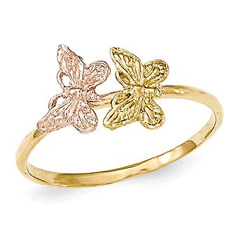 Ladies 14K Yellow and Pink Two-Tone Polished Butterfly Ring