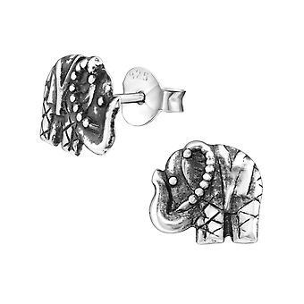 Elephant - 925 Sterling Silver Plain Ear Studs