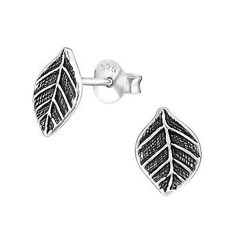 Leaf - 925 Sterling Silver Plain Ear Studs