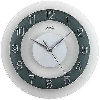 Wall clock quartz mineral crystal with the anthracite-coloured numbers Frost