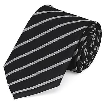 Tie stropdas tie stropdas 8cm zwart grijs zilver gestreept Fabio Farini