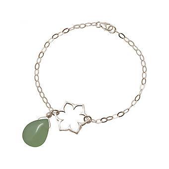 Aretes de flor de loto - damas de mandala - Calcedonia - - - 925--verde - YOGA del goteo