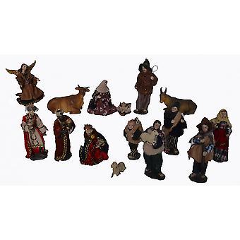 Voederbak 15 stuks. Instellen van kunsthars Nativity beeldjes Alpine 13 cm