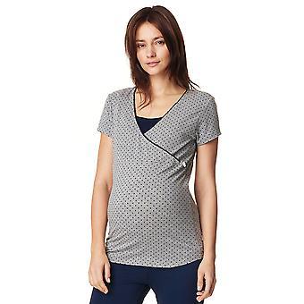 Noppies 66604-C246 kobiety Emma Grey Melange cętkowany Top Piżama ciążowa