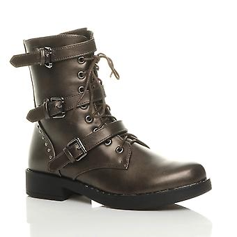 Ajvani womens low heel studded buckle lace up zip military ankle boots