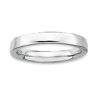 Sterling Silver Polished Rhodium-plated Stackable Expressions Rhodium Ring - Ring Size: 5 to 10