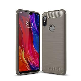 Xiaomi Redmi Nota 6 TPU caso carbono fibra óptica escovada cinza de capa de proteção
