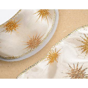 Ivory & Gold Glitter Star Wired Edge Christmas Craft Ribbon - 60mm x 10m