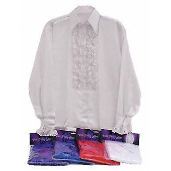 Satin Shirt and Ruffles (White).