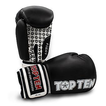 Top Ten Fight Boxing Gloves Black/White
