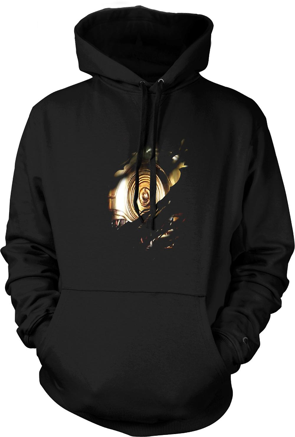Mens Hoodie - C3PO Star Wars Inspired Ripped Design