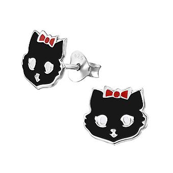 Cat - 925 Sterling Silver Colourful Ear Studs - W4720X