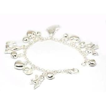 925 Silver Assorted Heart & Angel Charm Bracelet by TOC