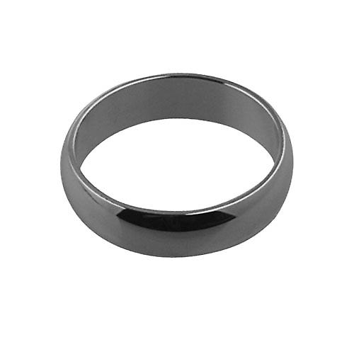 18ct White Gold plain D shaped Wedding Ring 5mm wide in Size P